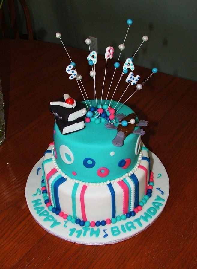 Year Old Birthday Cakes For Girls Blue And Pink Birthday - 11th birthday cake ideas