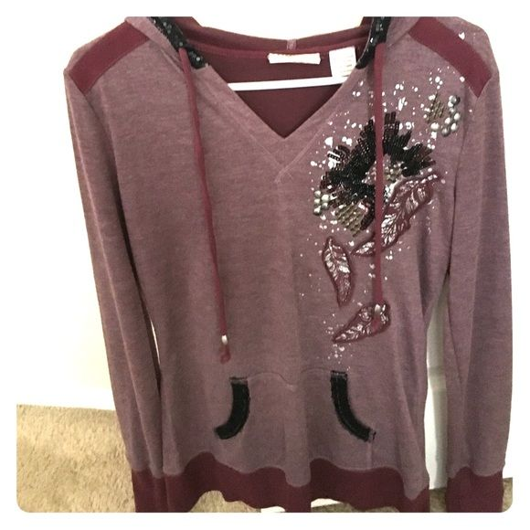 Miss Me Burgundy Sweater Miss Me size L burgundy blinged out sweater with feather/ dandelion design Miss Me Sweaters