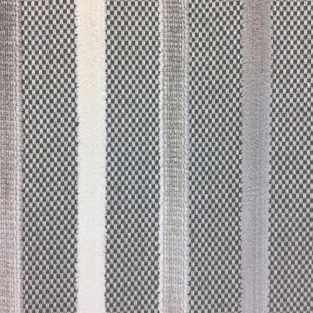 Gray and Cream Velvet Stripe - Upholstery Fabric By The Yard - Stripe Gray Velvet Pillow Covers - Velvet Cushions -