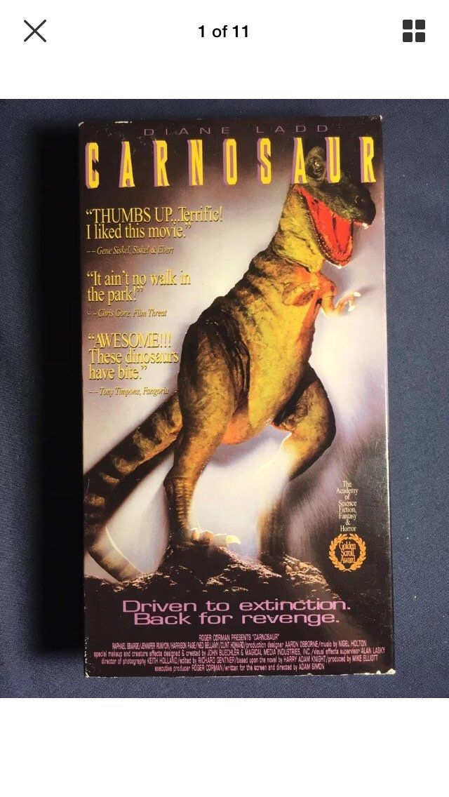 Vintage Carnosaur VHS Movie 1993 1st Release Horror