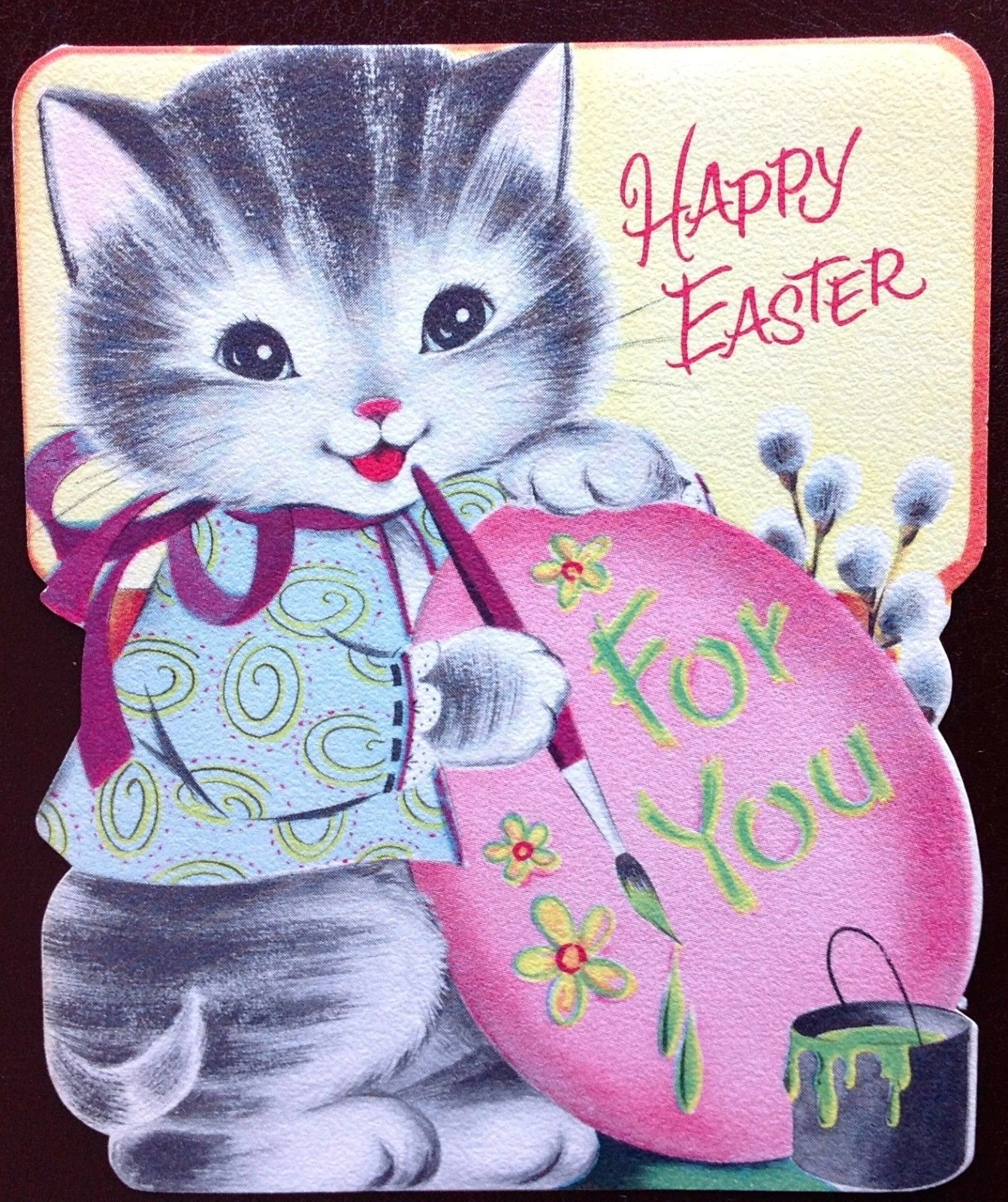 Vtg Norcross Easter Greeting Card Cute Artist Kitten Painting Giant Pink Egg Easter Greeting Cards Cat Cards Vintage Greeting Cards