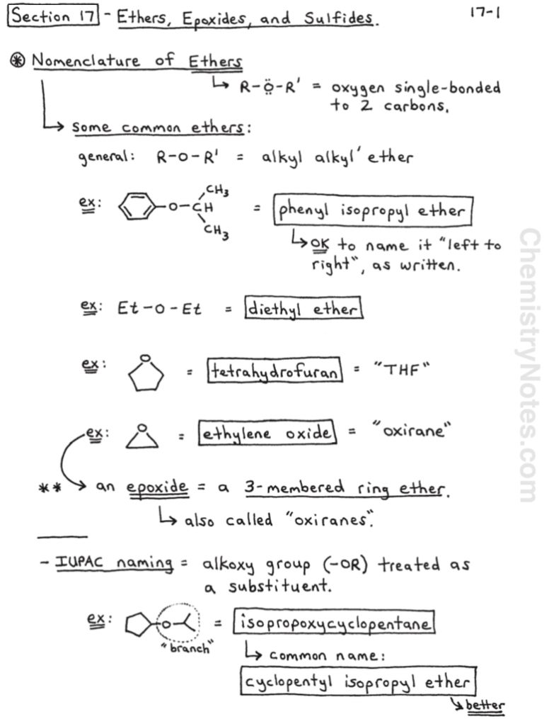 Ethers, Epoxides, and Sulfides in 2020 Chemistry notes