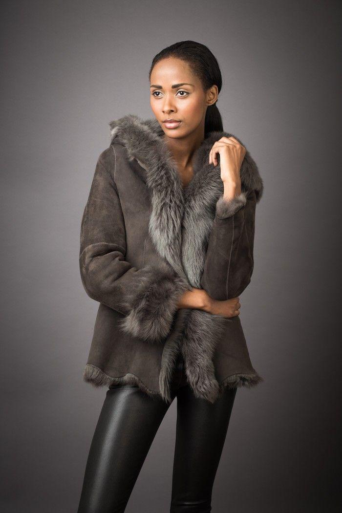 Hooded Toscana Shearling Jacket | Futra | Pinterest | Shearling jacket