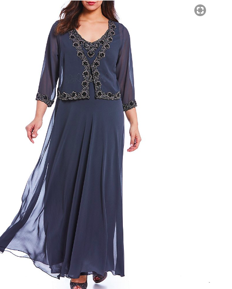 281ec160d31 J Kara Plus Beaded Chiffon Jacket Dress. Looking for this dress that is  sold out at Dillard s.