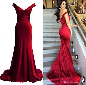 Dress Prom Fishtail Beautiful Red Off The Shoulder
