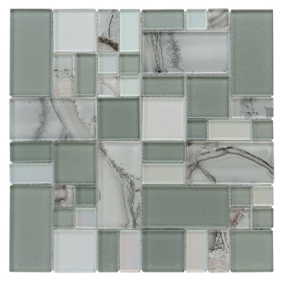 Shop allen + roth Volcanic Pewter Glass Mosaic Indoor/Outdoor Wall ...