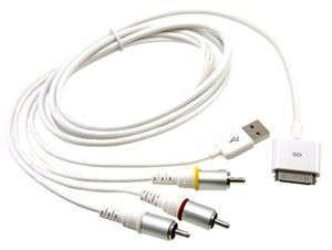 Composite Audio and Video Cable For Apple iPad, iPhone 4S