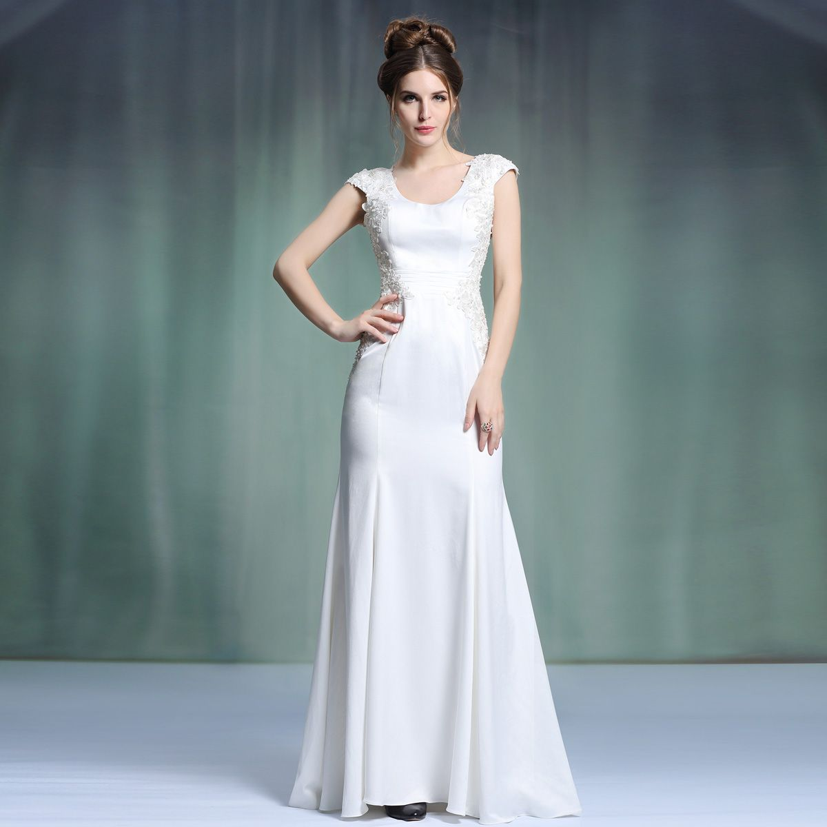 New Arrival Hot Sale Classy Cheap Floor Length Scoop Wedding Party ...