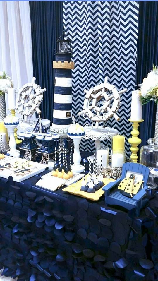 such a cute navy blue and white baby shower table with a. Black Bedroom Furniture Sets. Home Design Ideas