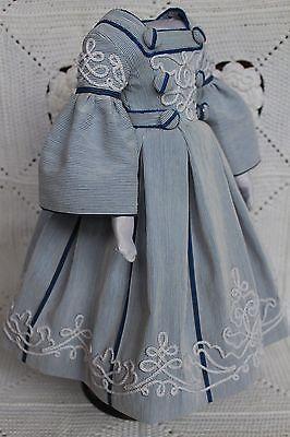 Lindo Vestido Para Boneca Antiga De Moda Francesa 18inch. (1860years)