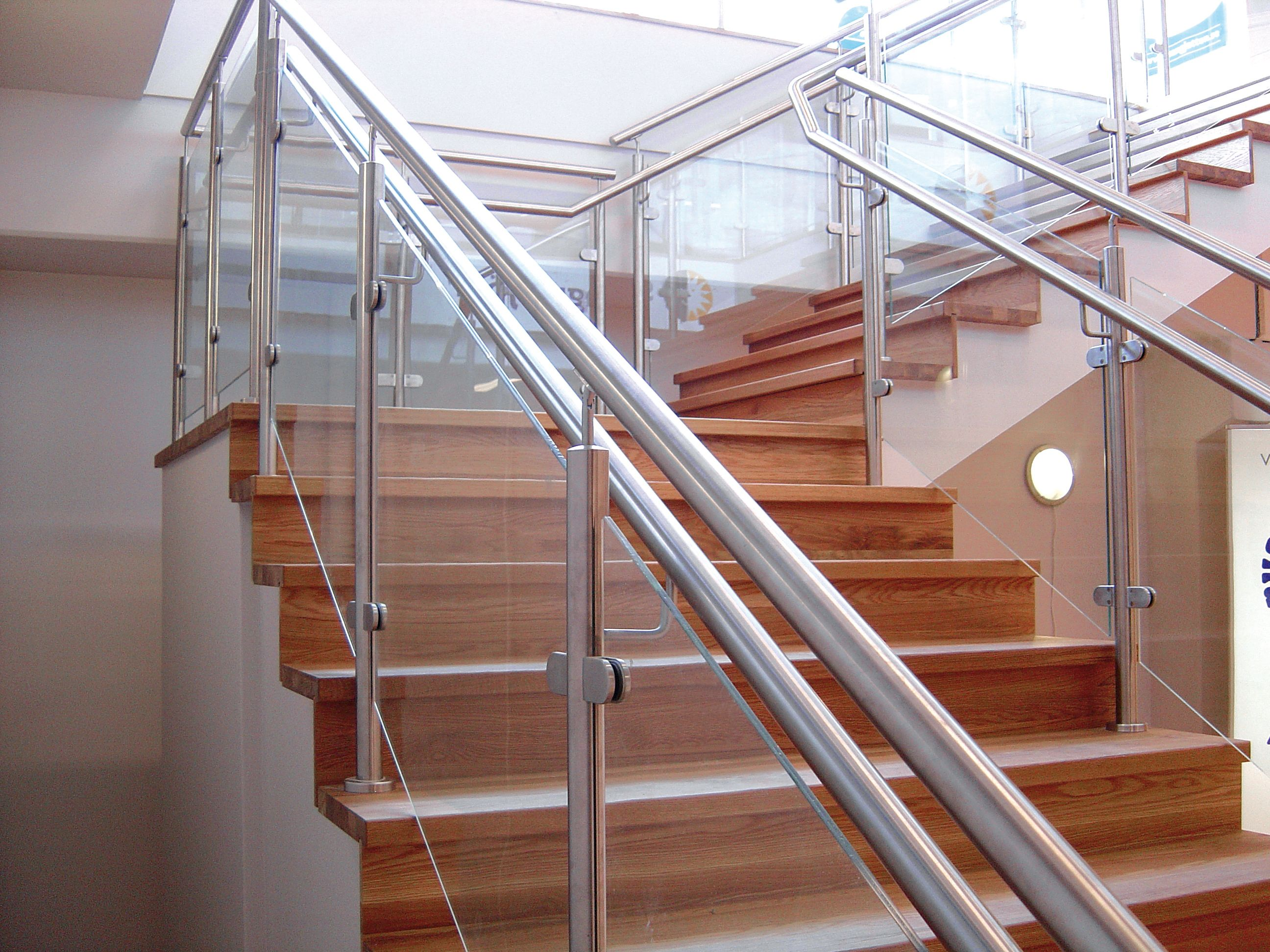 Beautiful Stainless Glass And Wood Stair Case By   Stairs Railing Designs In Steel And Glass