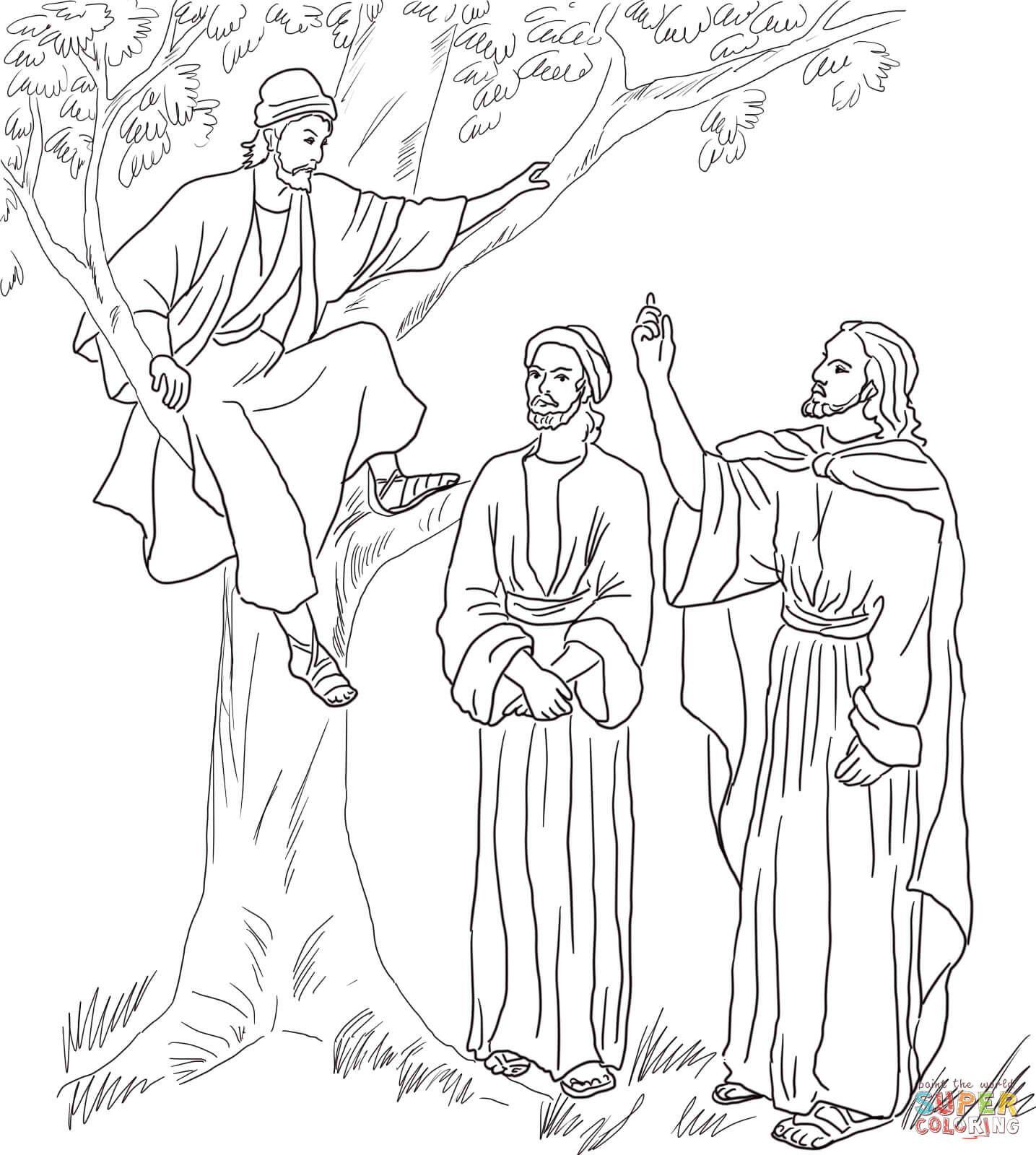 Zacchaeus Jesus Coloring Pages Bible Coloring Pages Bible Coloring
