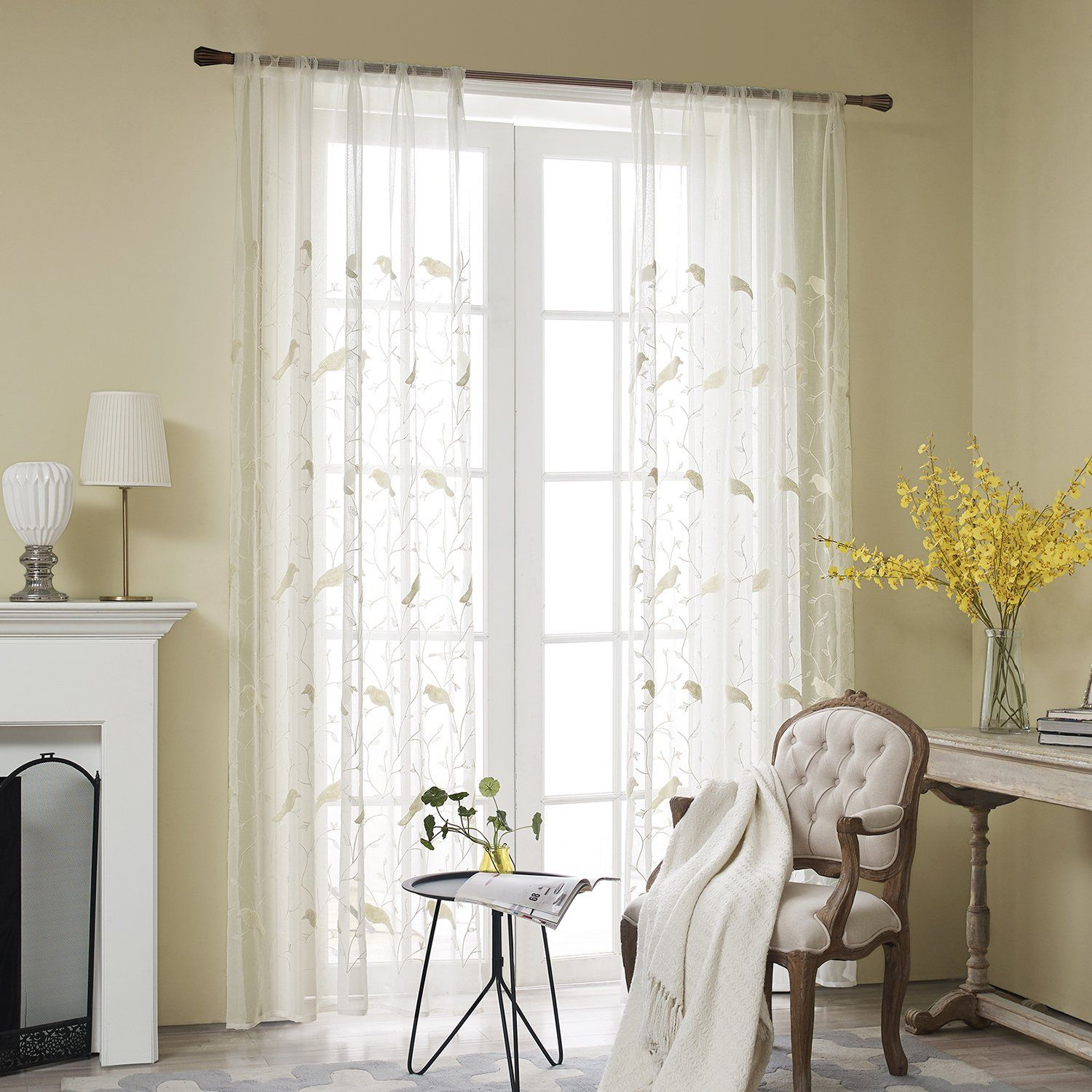 Amazon Com Vogol Rod Pocket Sheer Curtains Elegant Embroidered