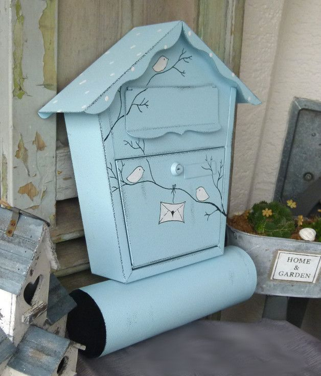 shabby briefkasten in blau mit v gelchen cute blue postbox with birds made by kirschenrot via. Black Bedroom Furniture Sets. Home Design Ideas
