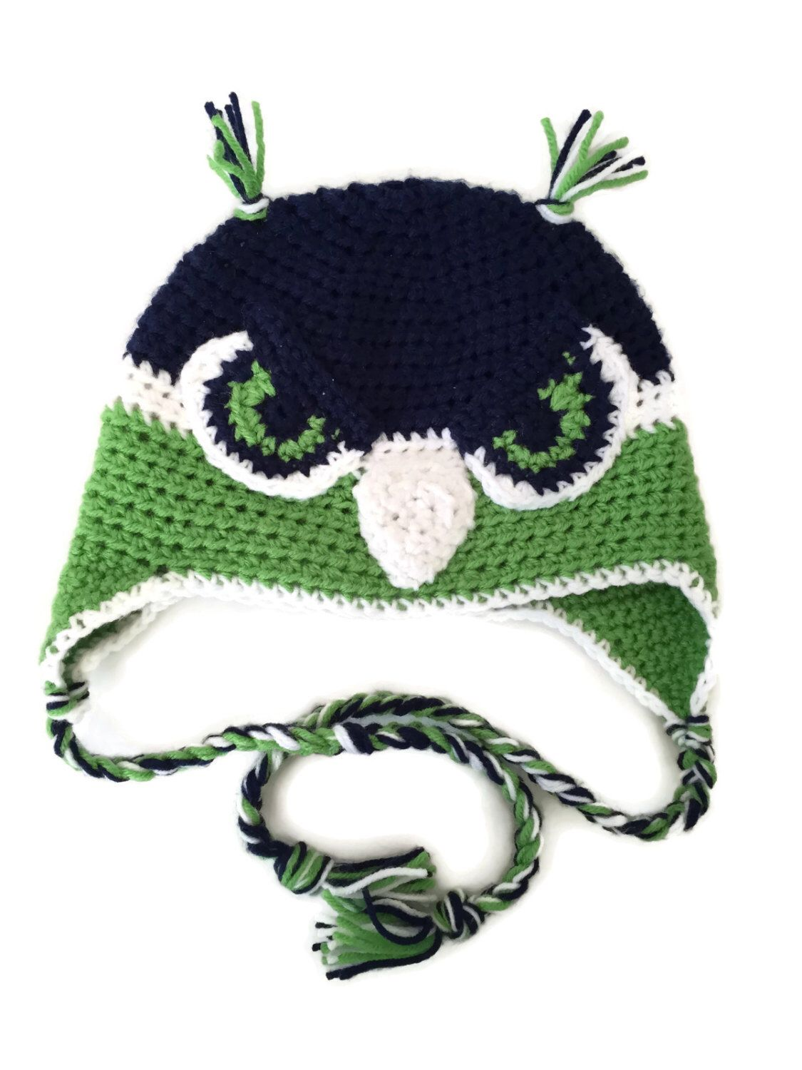 Crocheted blue and green Hat, Ear Flap Hat, blue and green earflap ...