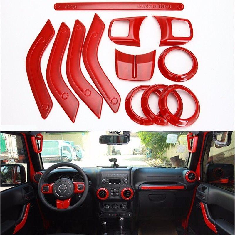 Opall Full Set Interior Decoration Trim Kit Steering Wheel/& Center Console Air Outlet Trim Door Handle Cover Inner For Jeep Wrangler JK JKU 2011-2017 2 Door /&4 Door Orange 12PCS