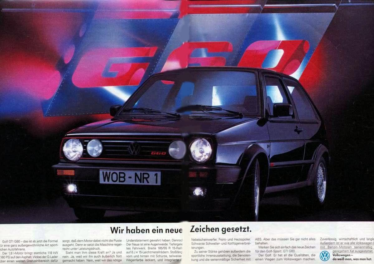 German Volkswagen Golf (Mk2) GTi G60 ad | Car ads, brochures ...