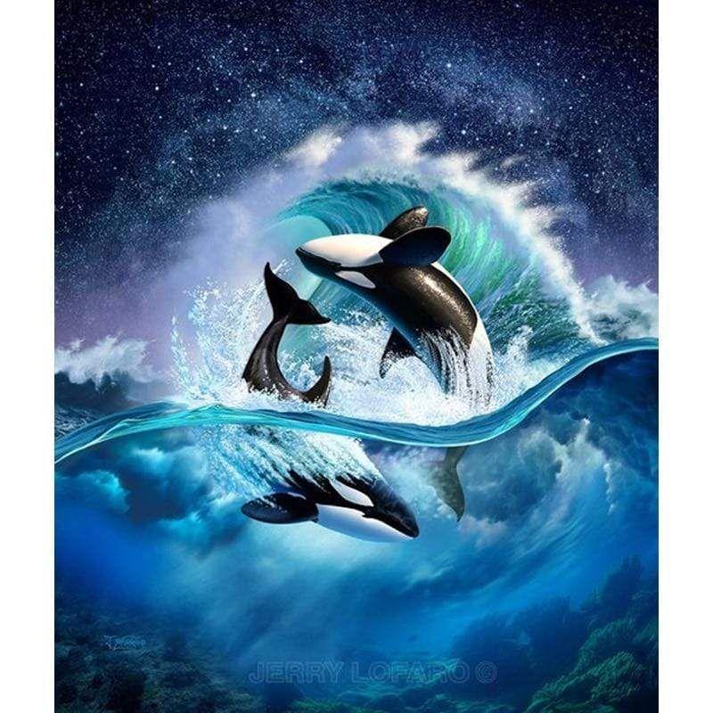 5d Diamond Painting Orcas Under The Stars Kit Orca Art Animal Posters Whale Art