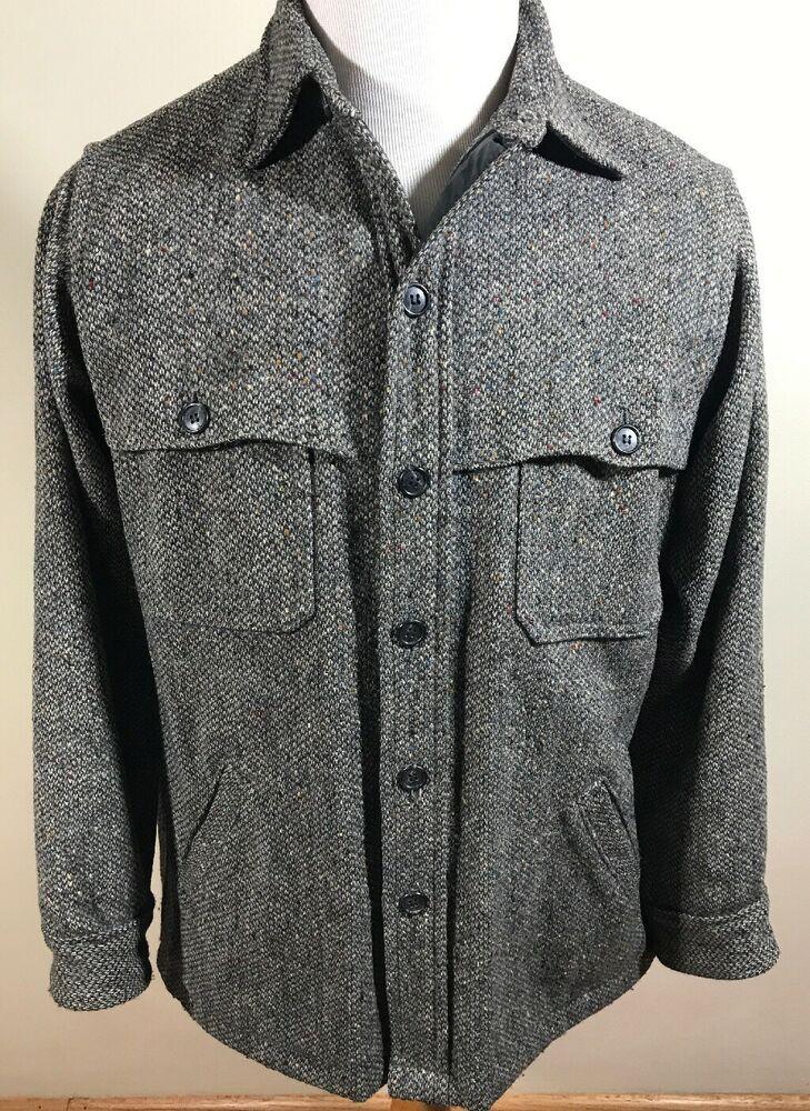 Vintage Woolrich Mens Grey Wool Twill Cruiser Hunting