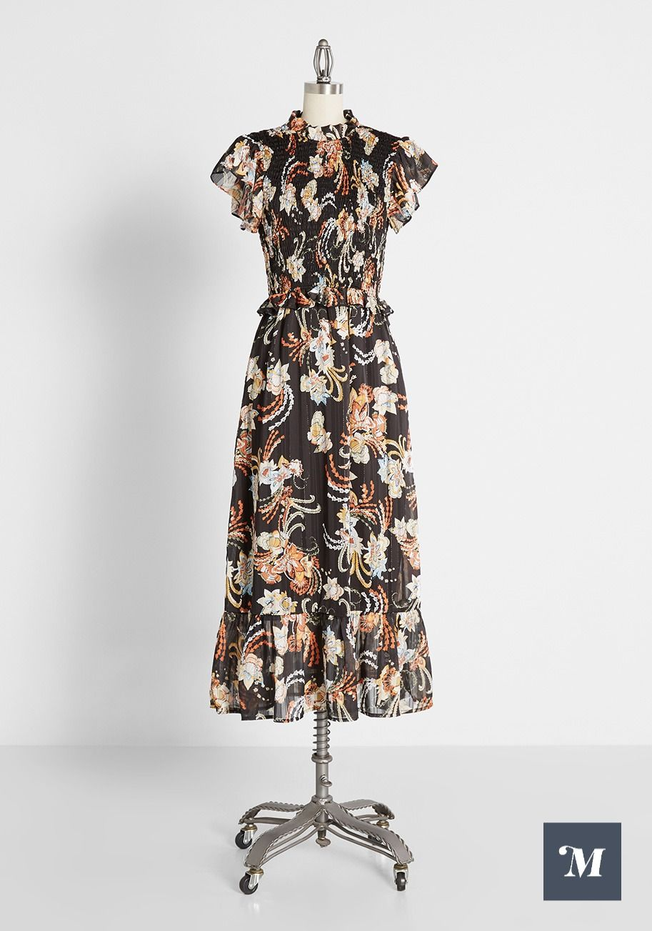 Shirring The Spotlight Midi Dress Floral Dress Black Cotton Midi Dress Dresses [ 1303 x 913 Pixel ]