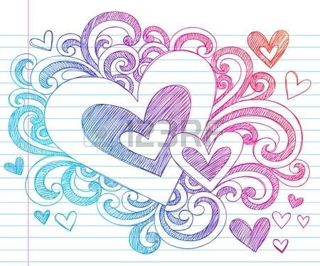Valentines Day Love & Hearts Sketchy Notebook Doodles Design Elements on Lined Sketchbook Paper Background- Vector Illustration photo