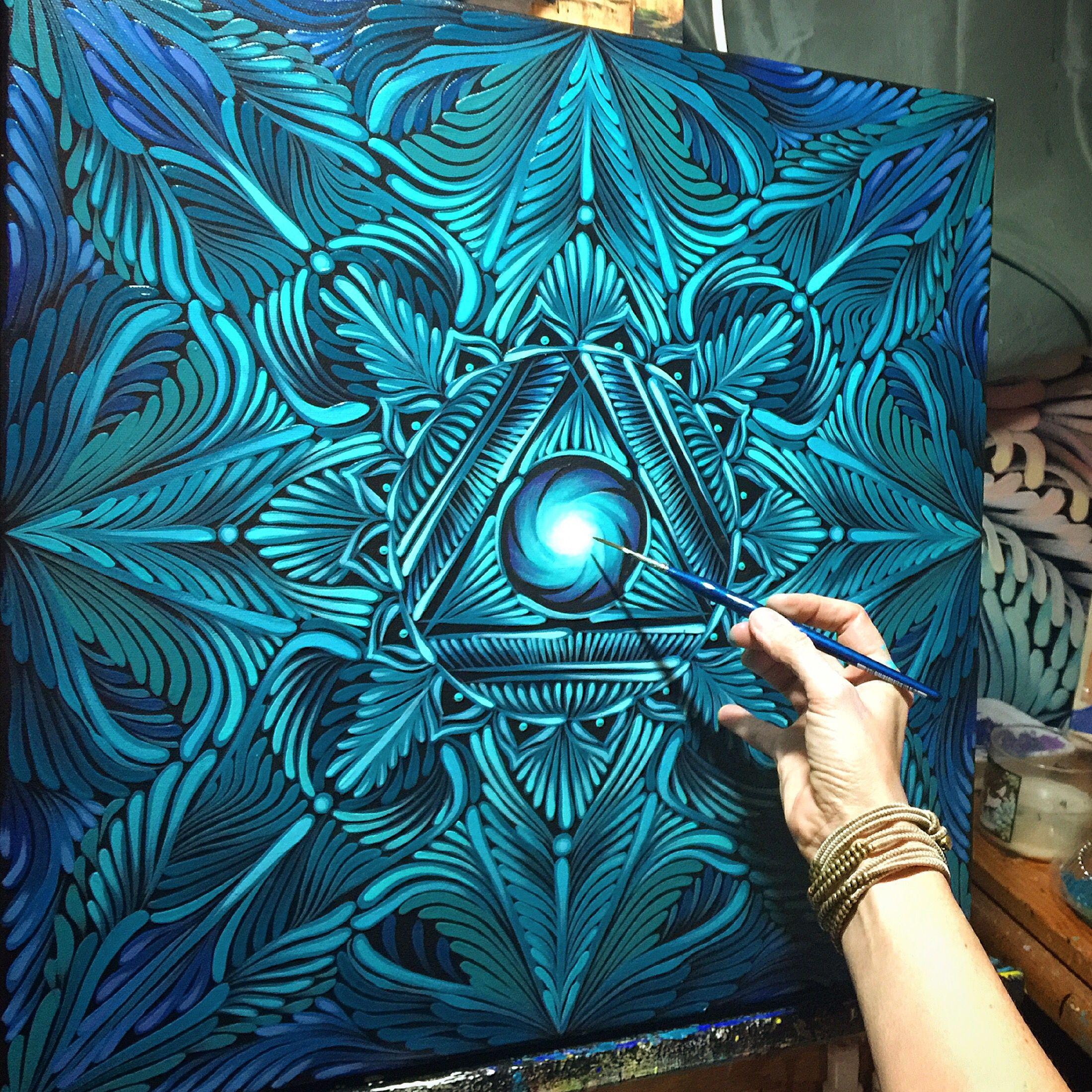 Mandala painting throat chakra www jamiegaviolafineart for Mural mandala