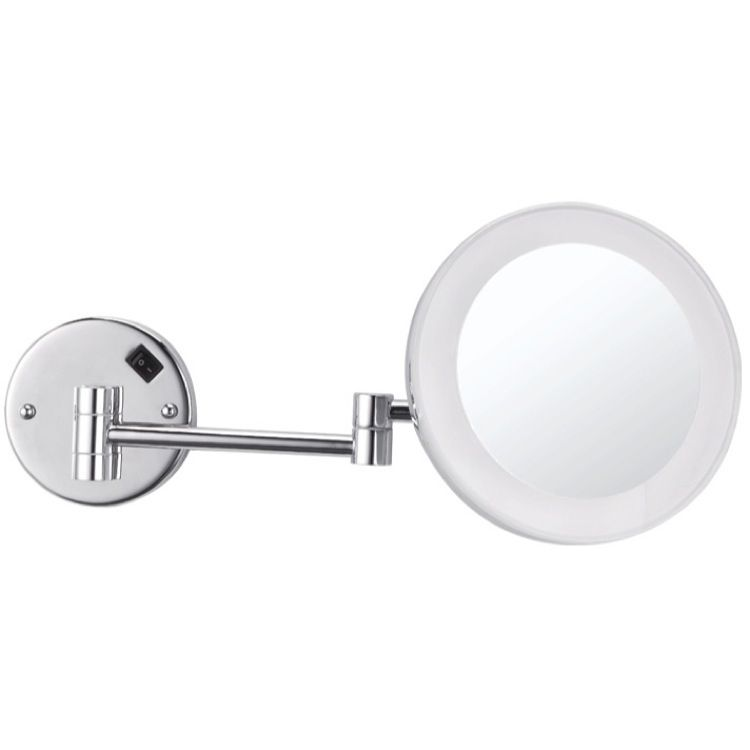 Round Wall Mounted 3x Makeup Mirror With Led Hardwired Wall