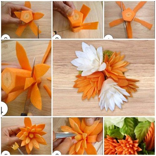 Its a great idea to create flower with carrot for salad garnish