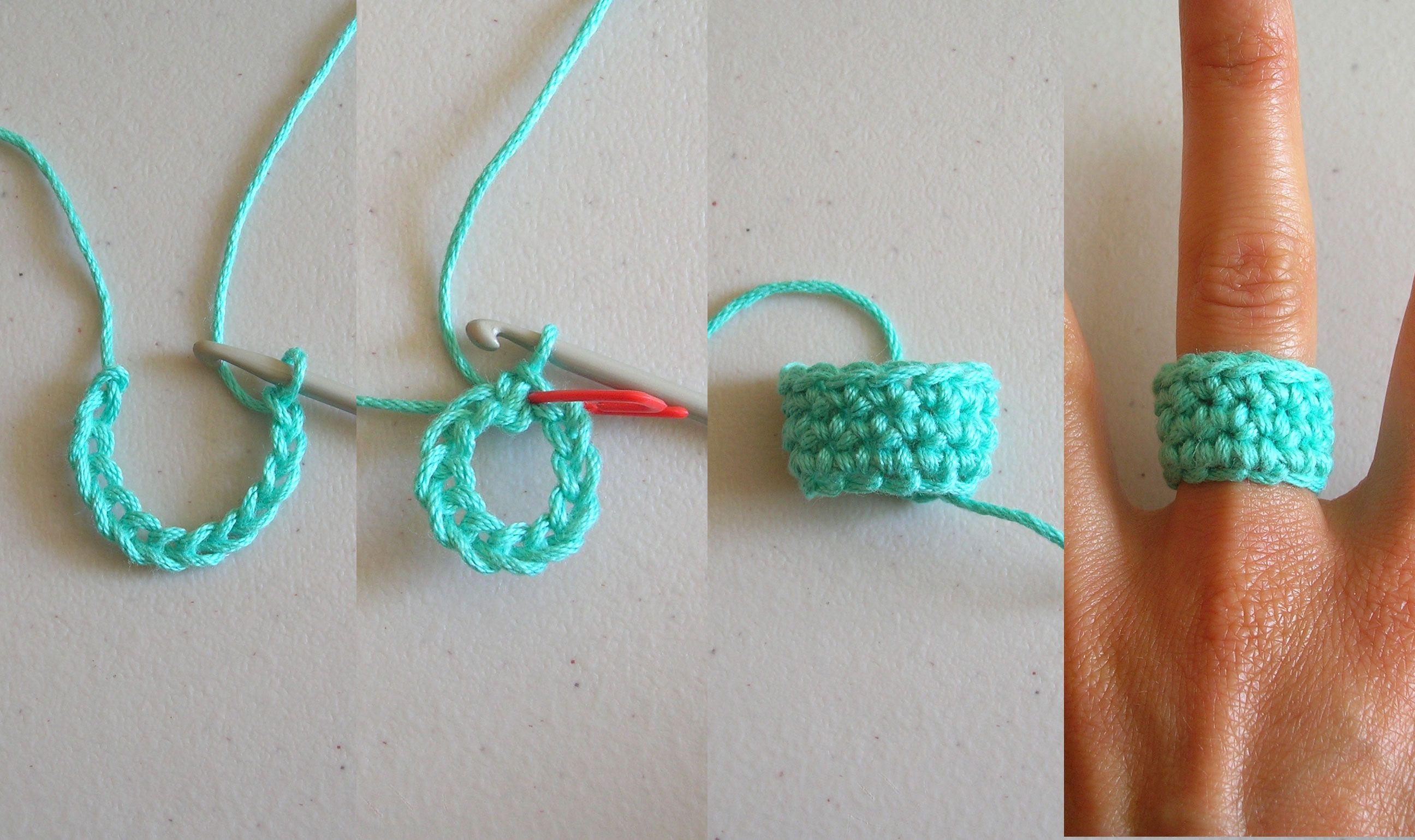 Crochet bow ring/ Anillo de moño
