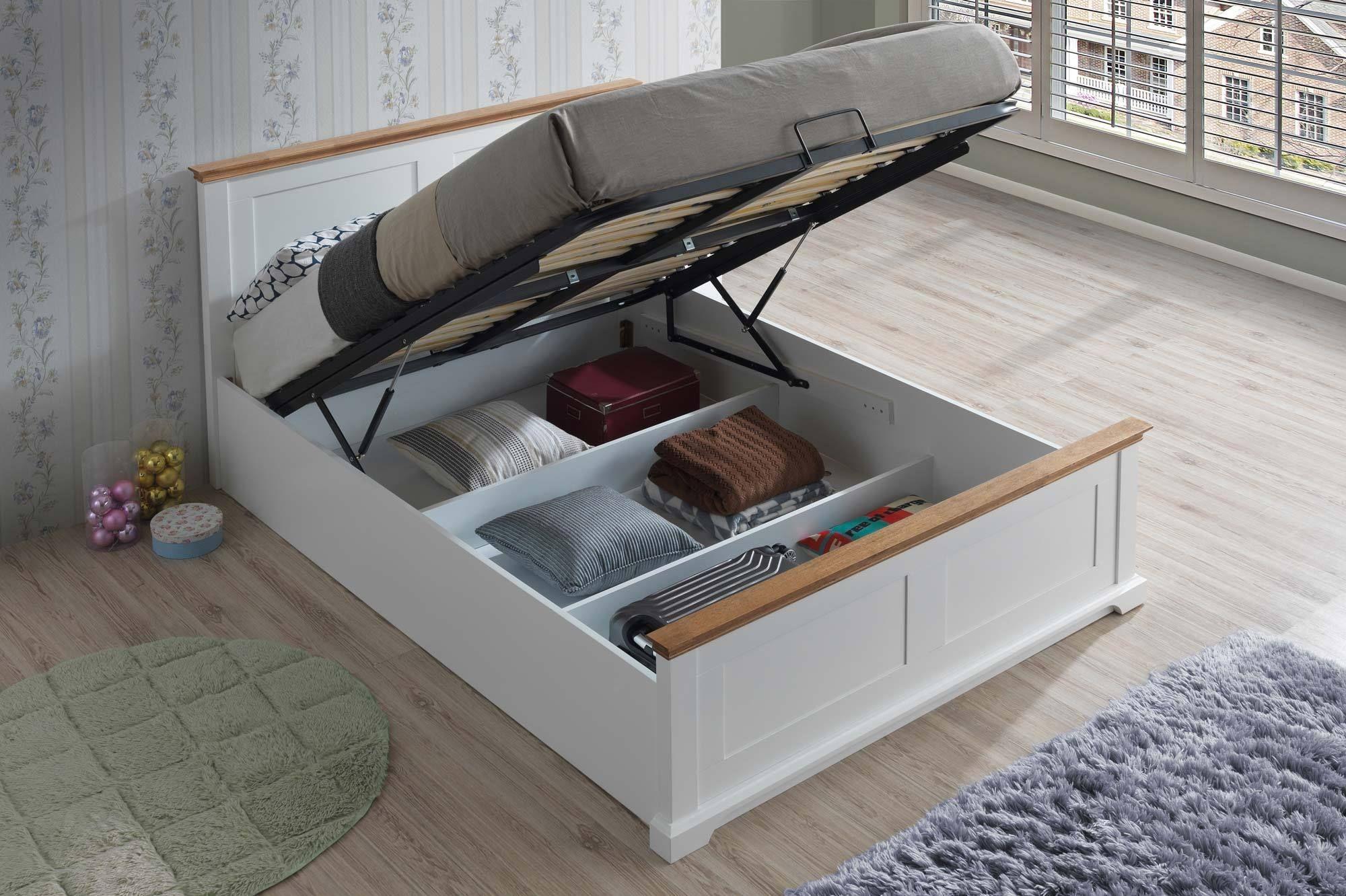 Terrific Chilgrove White Oak Ottoman Storage Bed Frame 5Ft King Dailytribune Chair Design For Home Dailytribuneorg