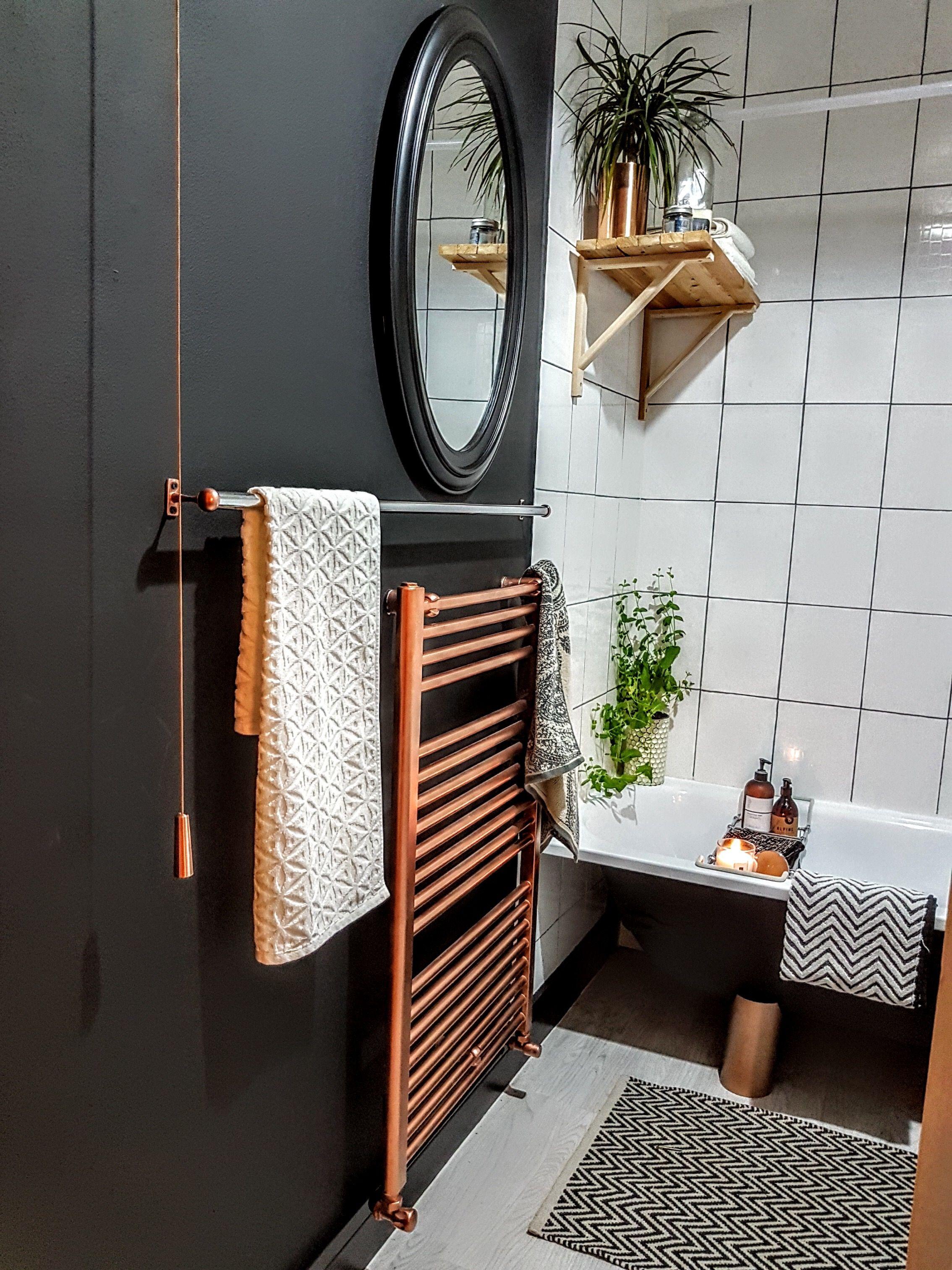 Dark Cosy Matt Black Chevron Grey Tile Grout Copper Bathroom