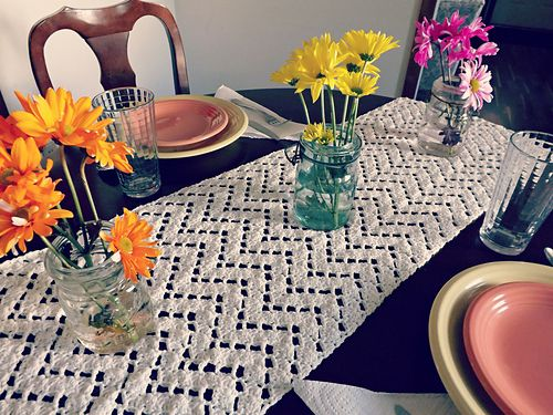 The Vintage Chevron Table Runner is an exclusive pattern inside the January Issue (#22) of Happily Hooked Magazine.