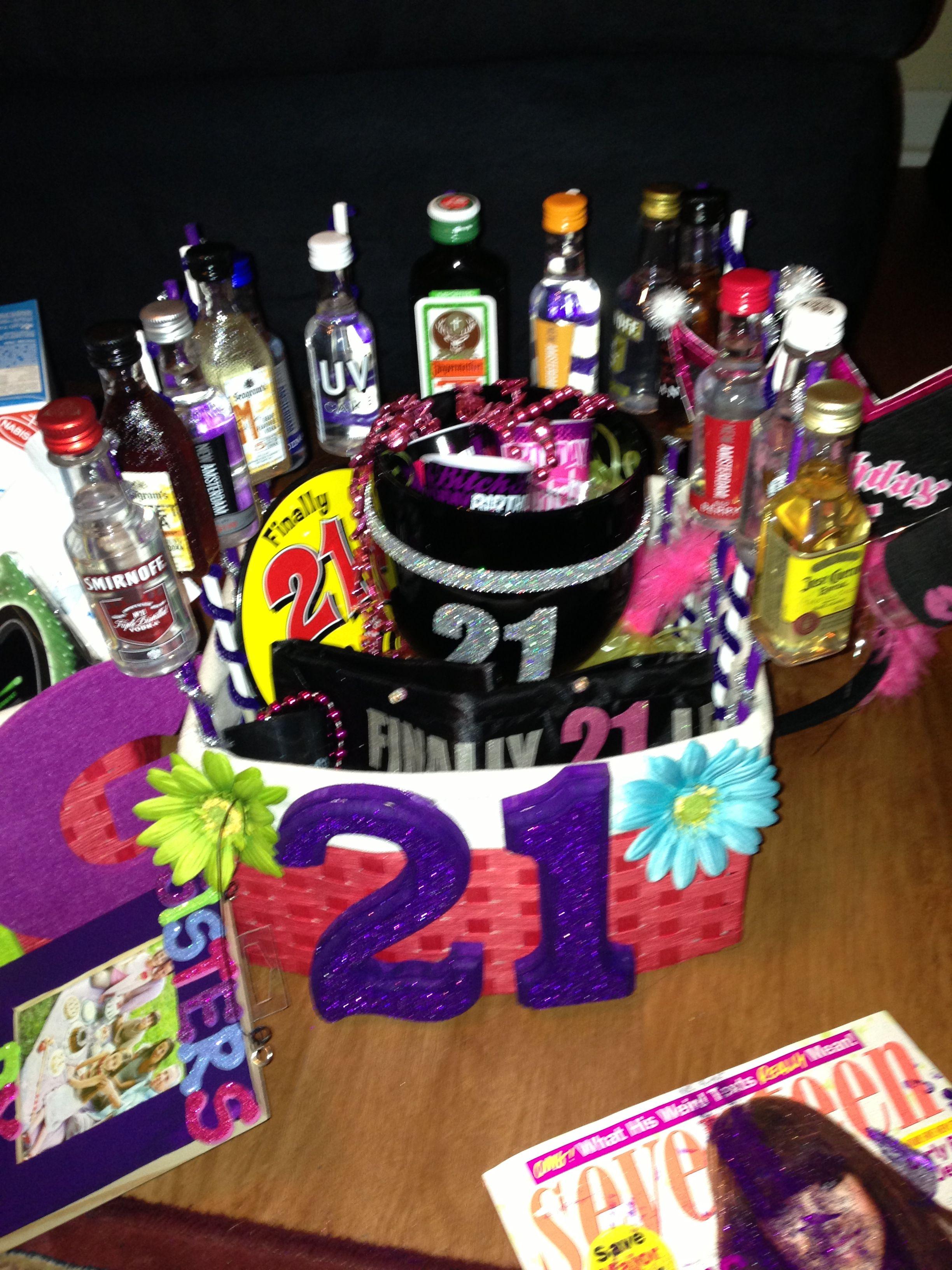 21 birthday basket i made for my big 21st birthday