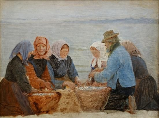 Peder Severin Krøyer: Morning at Hornbæk. Group Kneeling by Herring Baskets