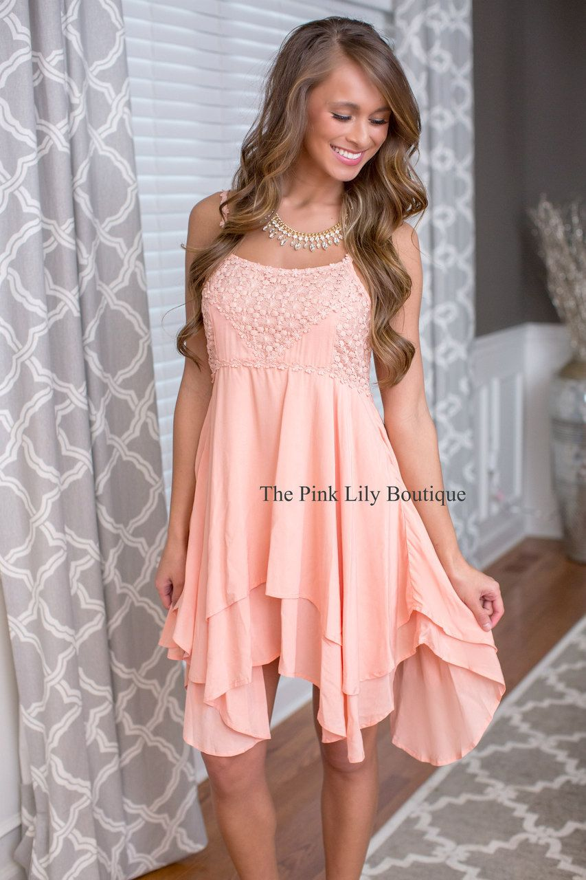 Spring Fairy Peach Dress - The Pink Lily Boutique | Clothing ...