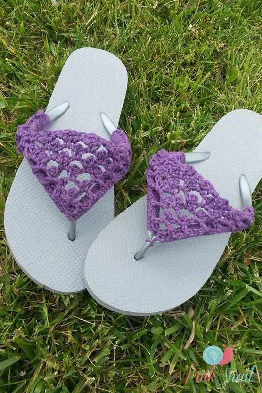 Peekaboo Picot Flip Flops free crochet pattern | Crochet flip flops ...