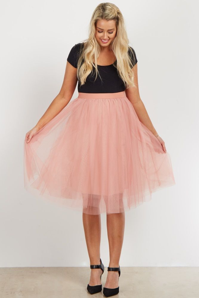 a3d28c72a640c A solid maternity midi skirt with a tulle mesh overlay. Double lined to  prevent sheerness. Elastic waistband. This style was created to be worn  before, ...