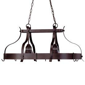 portfolio 2 light antique bronze hardwired hanging lighted pot rack. Black Bedroom Furniture Sets. Home Design Ideas