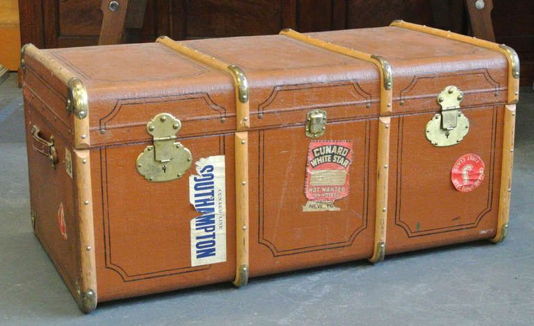 Vintage Wood And Brass Trimmed Steamer Trunk With Cunard Luggage Tag Vintage Trunks Vintage Wood Steamer Trunk