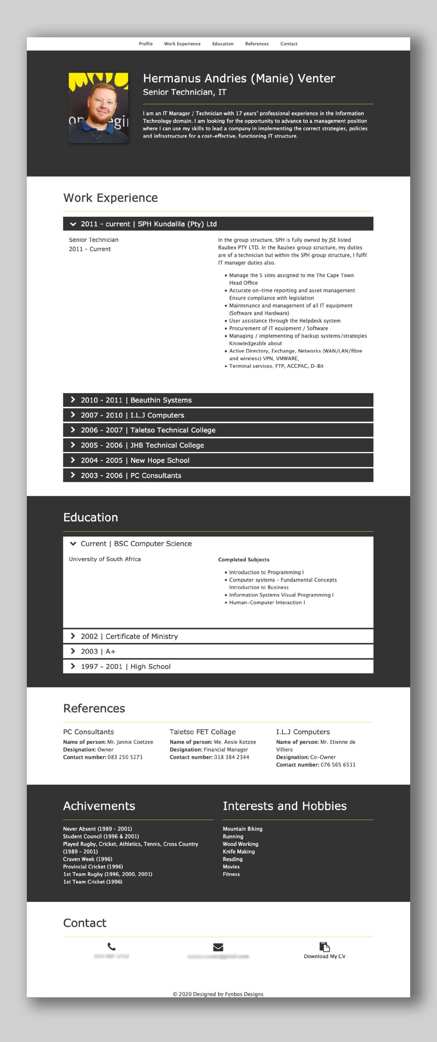 Cv Website Cv Design Web Design Design
