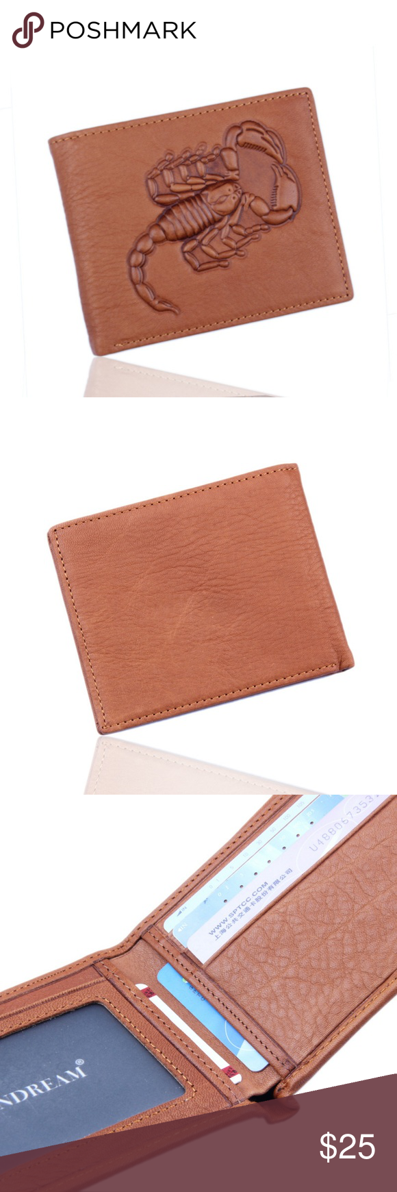 82ec13a0aeaf Scorpion Leather Bifold Wallet for Men Fashion Cool Cute Designed ...