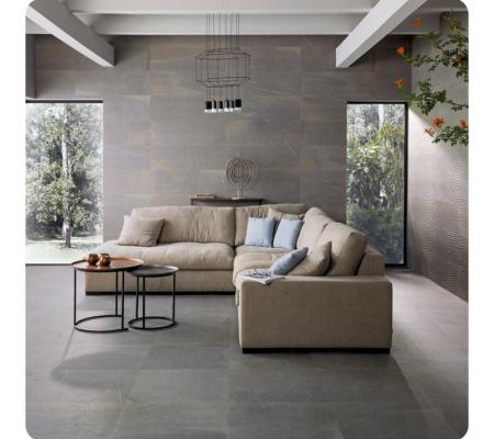Dayton Dune Graphite Modern Living Room Interior Floor Tile Design Interior Design Living Room