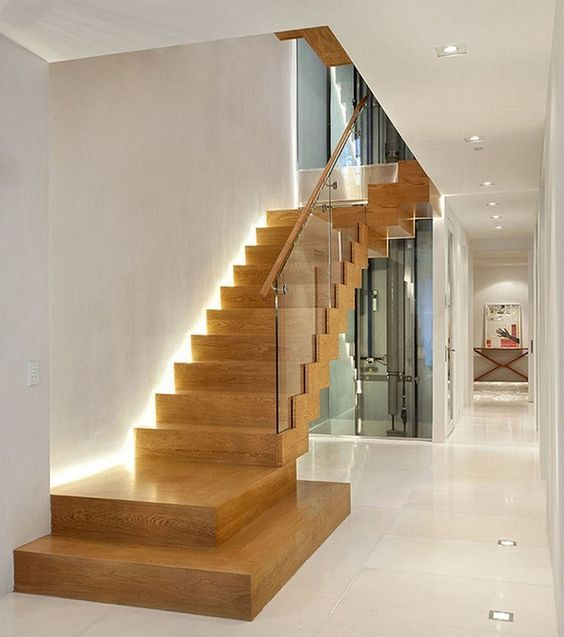 escaleras modernas de madera con luces integradas - Escaleras Modernas