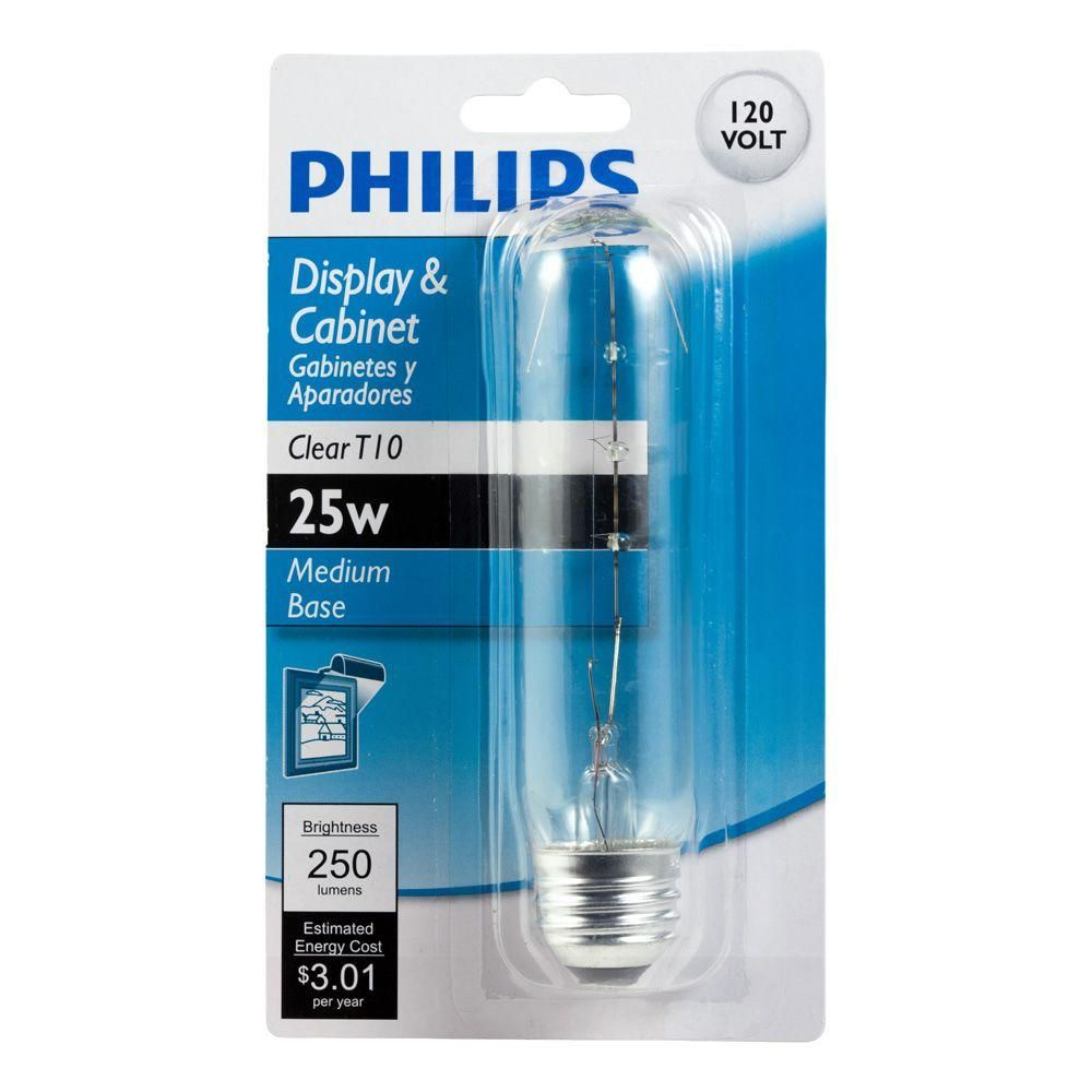Philips 25 Watt T10 Incandescent Clear Tubular Light Bulb 415851 The Home Depot In 2020 Clear Light Bulbs Light Bulb Bulb