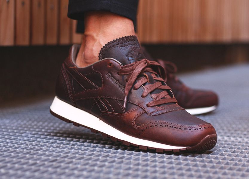 chaussure horween x reebok classic leather cuir marron
