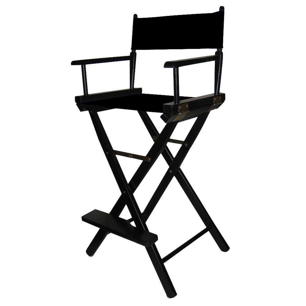Barheight directors chair black frame black canvas