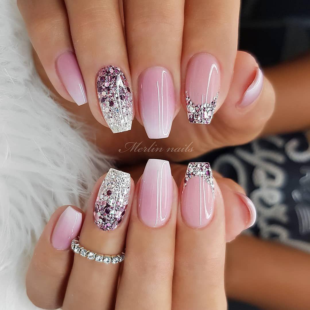 Glitzernde Rosa Nail Design - #design #glitzy - # ...