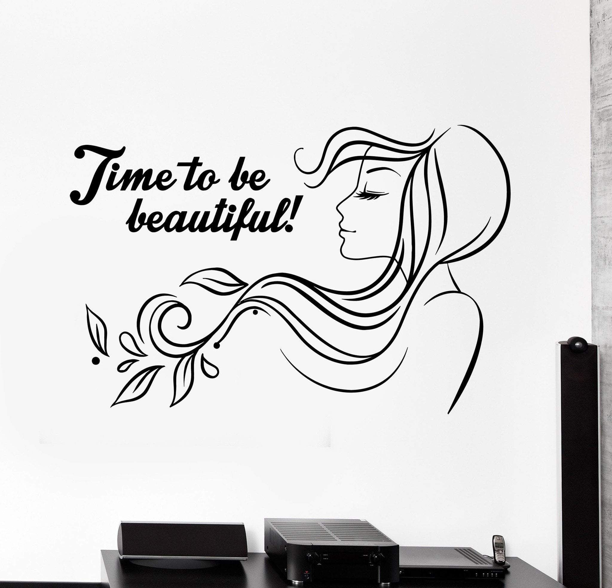 Vinyl Wall Decal Beauty Salon Quote Woman Hair Salon Stickers Mural Unique Gift Ig4614 Salon Quotes Hair Salon Logos Beauty Salon