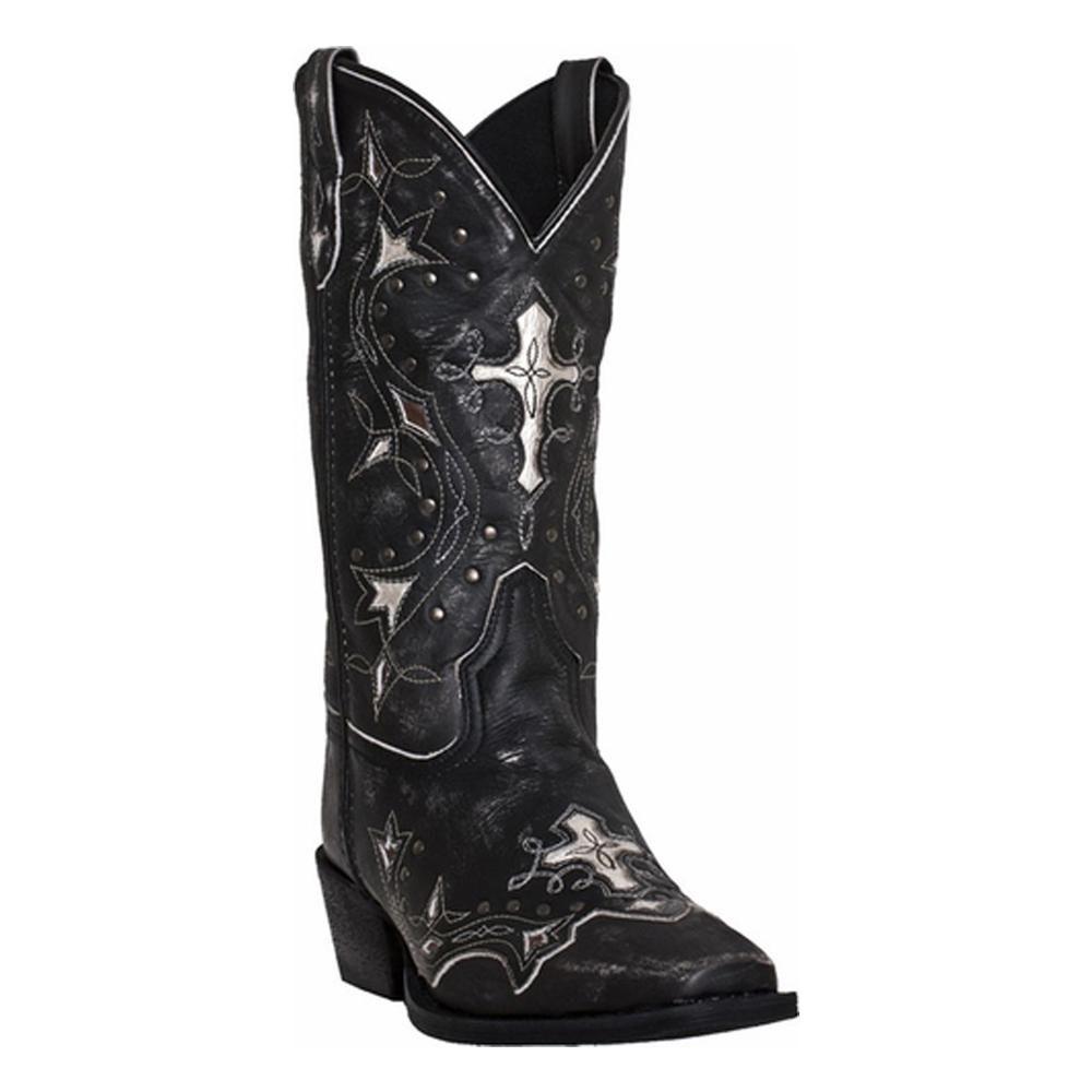 Laredo Women's Black and Grey Silver Cross Western Boots, 52030
