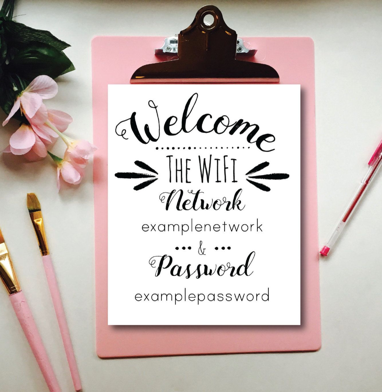 Wifi Network and Password sign, guest bedroom decor, printable decor ...